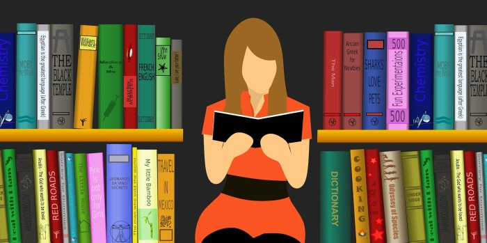 graphic of a lady reading a book in a library