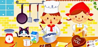 A colourful kitchen with two elves baking cakes