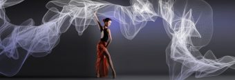 Spanish dancer with swirling fabric moving around her