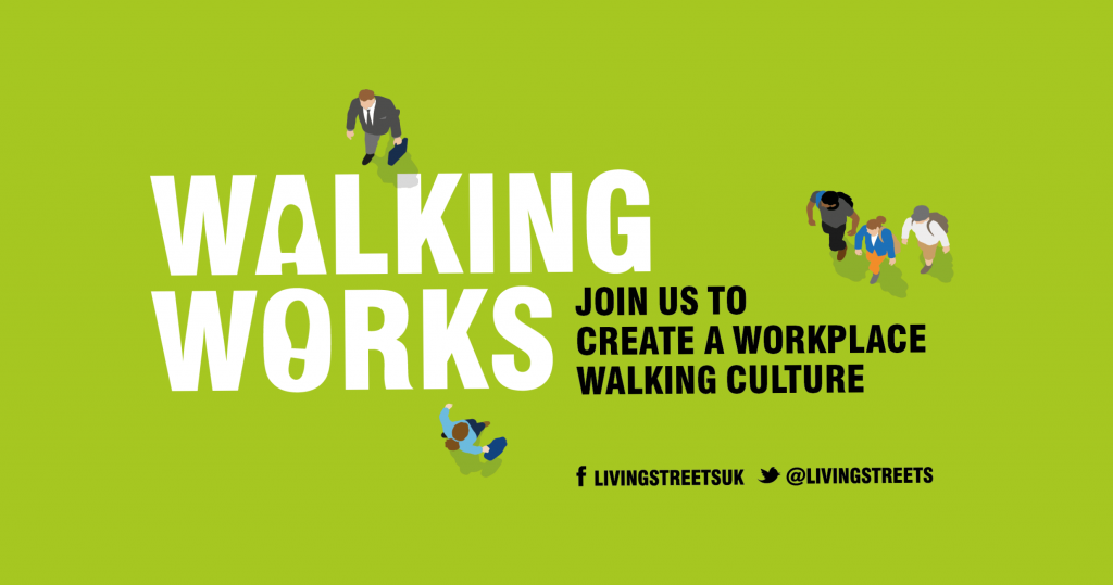 Green background with white walking works logo and the words join us to create a workplace walking culture