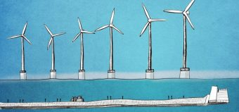 row of wind turbines out at sea